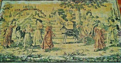 end 19c Antique Belgian/French woven Tapestry celebrity youth beautiful picture