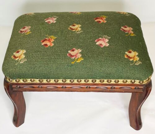 Vtg Antique Wool Needlepoint Tapestry Rose Wood Hassock Ottoman Stool Footstool