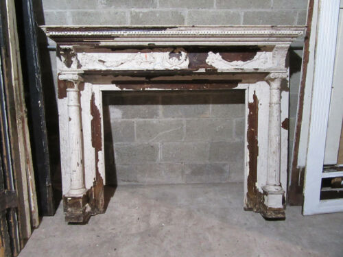 ~ ANTIQUE CARVED WALNUT FIREPLACE MANTEL ~ 66 X 50 WITH 42 OPENING ~ SALVAGE