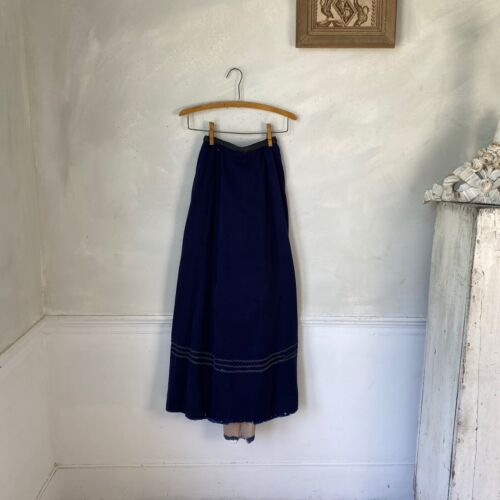Antique French Blue Wool Skirt Victorian Wear Clothing 1900 French Workwear