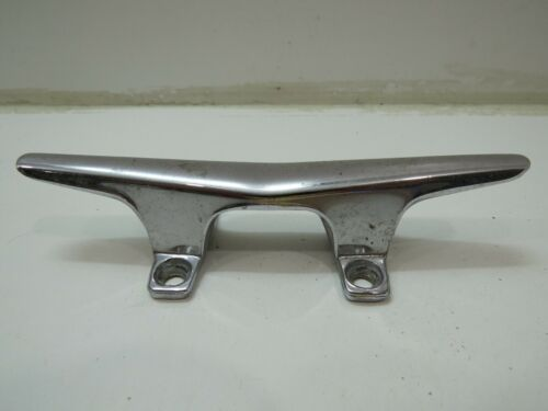 6 INCH OLD CHROME OVER POT METAL BOAT DOCK CLEAT  (D2A490A)