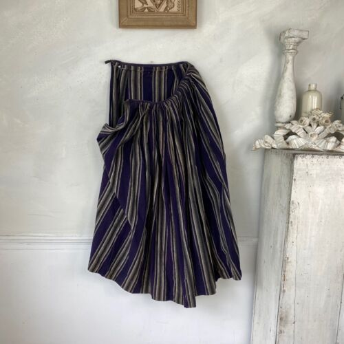 Antique Striped Work Skirt mid late 1800s French Workwear Chore Skirt Wool