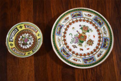 2 Pretty Cloisonné Pieces - plate & small bowl - made in China 'N' Cloisonne