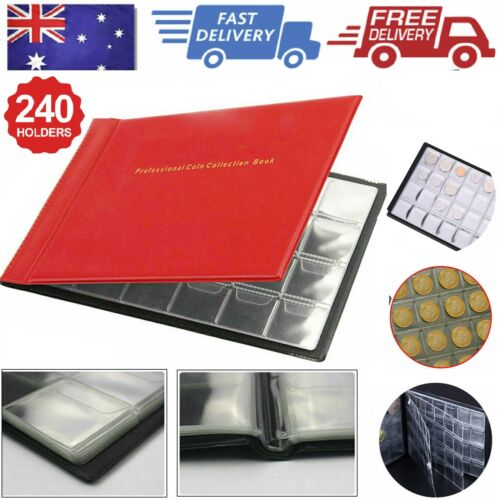 240 Coin Holder Collection Storage Collecting Money Penny Pockets Album Book AU <br/> can not hold Australian 50c and 20c coin