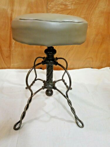 Antique ~ Cast Iron Swivel Exam Chair Twisted Metal Base       #2900