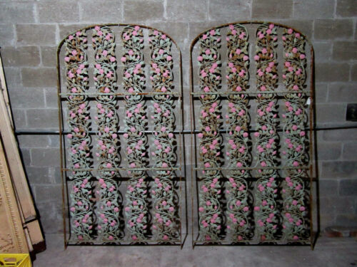 ~ PAIR OF ANTIQUE CAST IRON SCREENS WITH ROSES ~ 47 X 89 ~ ARCHITECTURAL SALVAGE