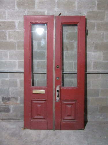 ~ ANTIQUE DOUBLE ENTRANCE FRENCH DOORS ~ 49 x 91 ~ ARCHITECTURAL SALVAGE