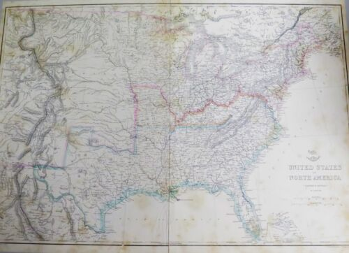 .1860s CIVIL WAR ERA LARGE MAP EASTERN & CENTRAL UNITED STATES. WEEKLY DISPATCH.
