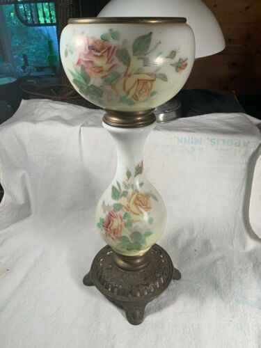 Antique Tall Double Glass hand painted Roses & Brass Holder Banquet