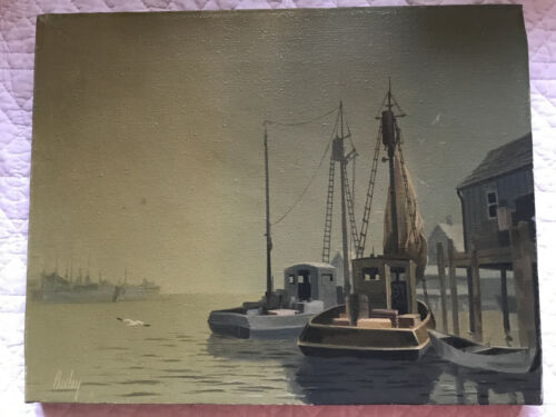 Vintage seascape coast hand painted original oil PAINTING boat dock by Bailey