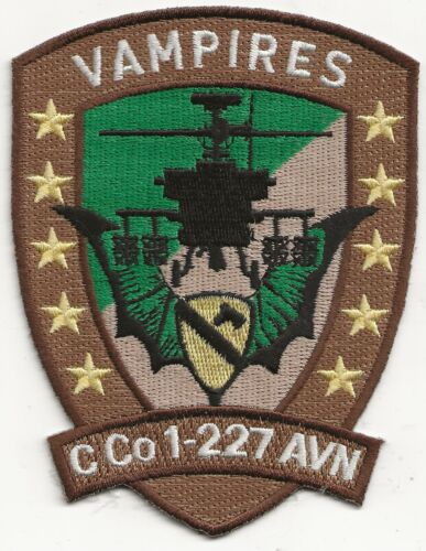 """R/ORIG DS/IF """"C. Co.,1-227TH AVN CAV REGT"""" SQUAD PATCH - EMB ON TWILLOriginal Period Items - 10953"""