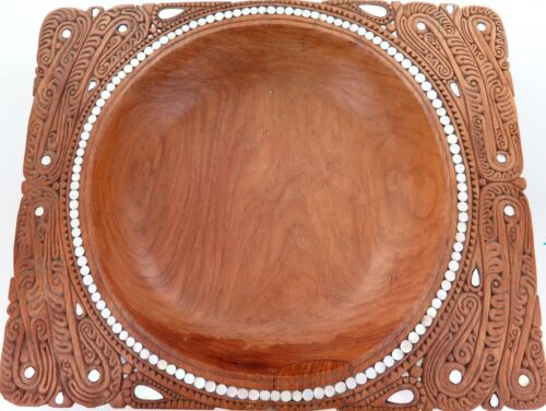 VERY LARGE OCEANIA TRIBAL HIGHLY CARVED WOODEN BOWL + MOTHER of PEARL INSERTS.