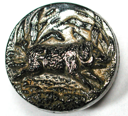 """Antique Glass Button Wild Boar with Silver Luster Design - 11/16"""""""
