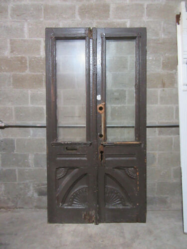 ~ ANTIQUE CARVED DOUBLE ENTRANCE FRENCH DOORS GOTHIC ~ 47.5 X 92.5 ~ SALVAGE