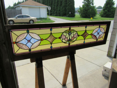 ~ ANTIQUE STAINED GLASS TRANSOM WINDOW COLORFUL 18 JEWELS ~ 68 x 18 ~ SALVAGE