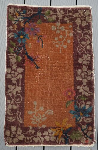 ANTIQUE ART DECO CHINESE RUG  30 BY 19 INCHES