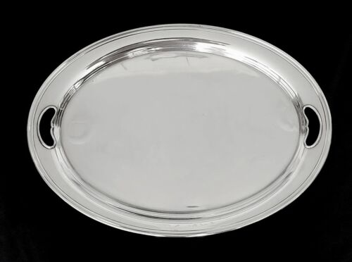 """Large Handled Waiter Tray Modern Colonial Pattern Sterling by ALVIN;  22 1/4"""""""