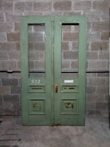 ~ ANTIQUE DOUBLE ENTRANCE FRENCH DOORS ~ 55.25 x 93.25 ~ ARCHITECTURAL SALVAGE