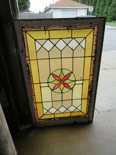 ~ LARGE ANTIQUE STAINED GLASS WINDOW ~ 28 X 43.5 ~ ARCHITECTURAL SALVAGE