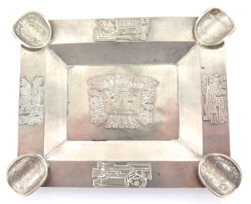 .VINTAGE BOLIVIAN SILVER ASHTRAY with 4 x 1880s COINS AS CIGARETTE RESTS.