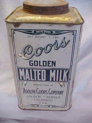 """VINTAGE """" COORS GOLDEN MALTED MILK """" 5 LB TIN W/ CONTENTS"""