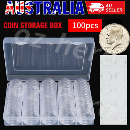 100pcs Coin Storage Box Case Capsules Holder Clear Round 20MM 25mm 30mm