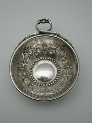 Antique French Solid Silver Wine Taster w Snake Handle