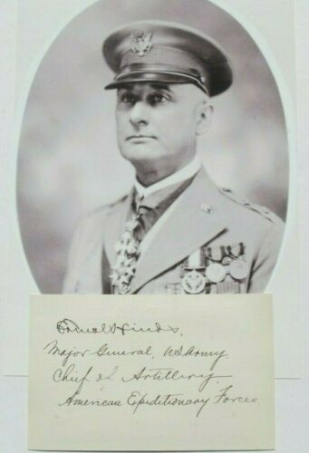 General Ernest Hinds WW I U.S AEF Chief Of Artillery Commander Autograph
