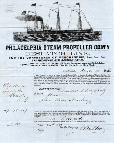 1862, Providence Tool and Armory, Steamship,engraved invoices, gun machineryDocuments - 165589