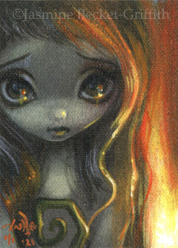 """Tiny Treasure 168 ACEO Jasmine Becket-Griffith big eyes Fire Fairy gothic art <br/> by Jasmine Becket-Griffith 2.5""""x3.5"""" ACEO OOAK Card!!"""