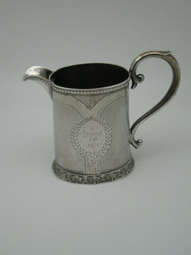 19th Century Engine Turned Tift & Whiting Coin Silver Pitcher