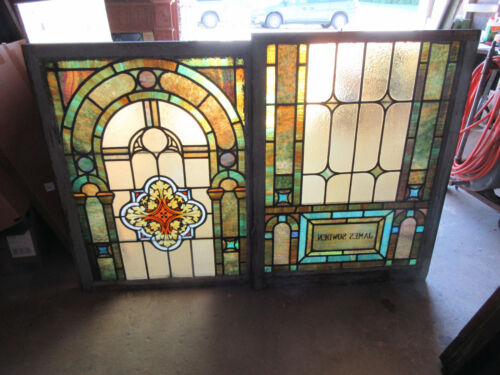 ~ ANTIQUE STAINED GLASS WINDOWS TOP AND BOTTOM SET O ~ ARCHITECTURAL SALVAGE