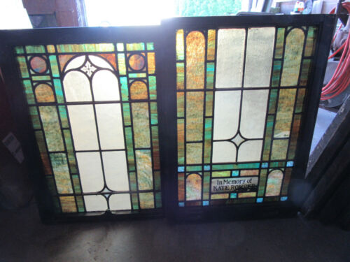 ~ ANTIQUE STAINED GLASS WINDOWS TOP AND BOTTOM SET E ~ ARCHITECTURAL SALVAGE