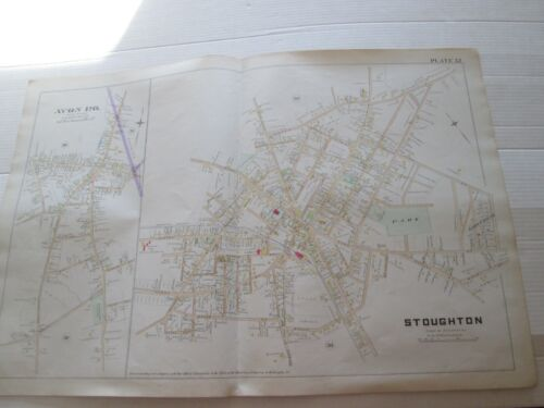 """(1) 1888 MAP """"TOWN of AVON P.O. AND STOUGHTON """" from NORFOLK COUNTY MASS., ATLAS"""