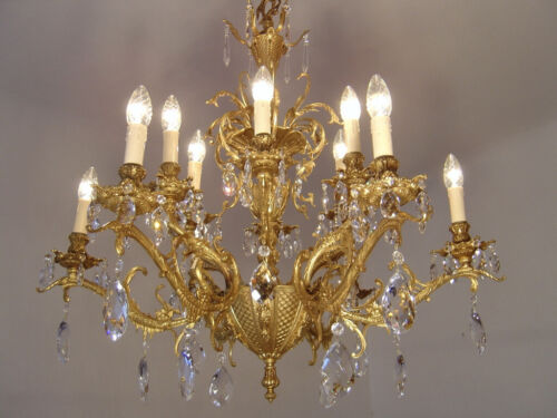 """AMAZING CRYSTAL GOLD BRONZE FRENCH BAROQUE CHANDELIER LAMP 12 LIGHT Ø 32"""""""
