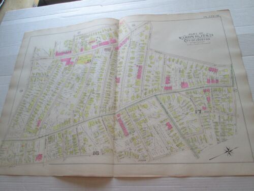 """1895  PLATE 41  """"ATLAS OF THE CITY OF BOSTON PROPER AND ROXBURY"""" G W BROMLEY"""