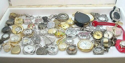41 PC  LADIES FANCY PENDANT PIN ECT QUARTZ WATCH LOT  WEAR REPAIR PARTS UNTESTED <br/> VARIOUS BRANDS & UNUSUAL TYPES OF LADIES WATCHES