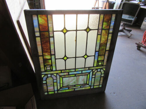 ~ ANTIQUE STAINED GLASS WINDOW FF ~ 33.25 x 40.25 ~ ARCHITECTURAL SALVAGE