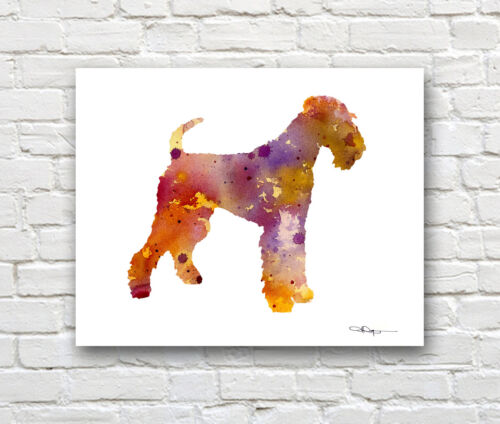 AIREDALE TERRIER Contemporary Watercolor ART Print by Artist DJR