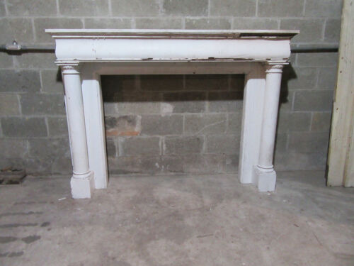~ ANTIQUE OAK FIREPLACE MANTEL WITH COLUMNS ~ 72 X 51 48 OPENING ~ SALVAGE