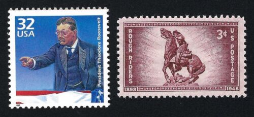 TEDDY ROOSEVELT ROUGH RIDERS SPANISH-AMERICAN WAR US STAMPS SET MINT CONDITION 2