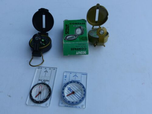 Group of 4 Used Vintage Compasses Orienteering Hiking Map Reading Camping