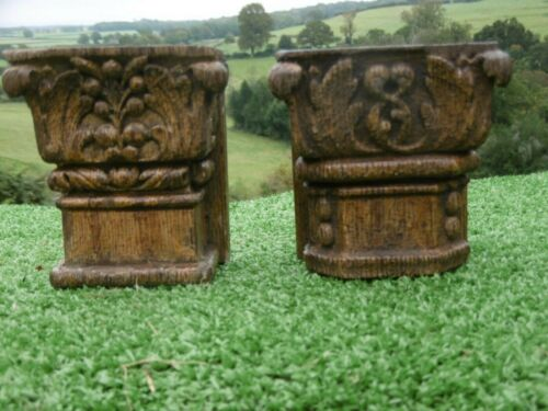 ANTIQUE DUO OF 16thc ARCHITECTURAL OAK CARVED CORBELS