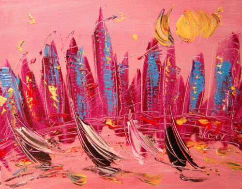 PINK SKY CITYSCAPE  MODERN ABSTRACT Painting  CONTEMPORARY ART HE5TGHTRH