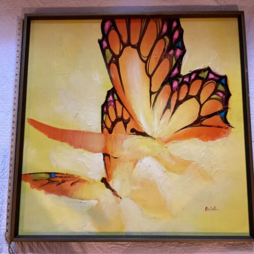 Large vintage BUTTERFLY  abstract original hand painted PAINTING yellow signed