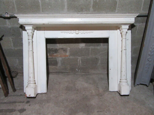 ~ ANTIQUE OAK FIREPLACE MANTEL WITH COLUMNS ~ 71 x 48 42 OPENING ~ SALVAGE