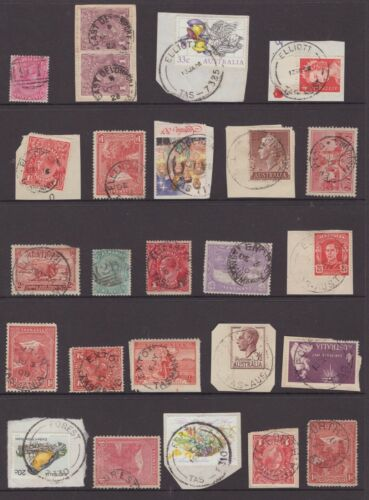 Tasmania page of postmarks including on pictorials & KGV all start with E or F
