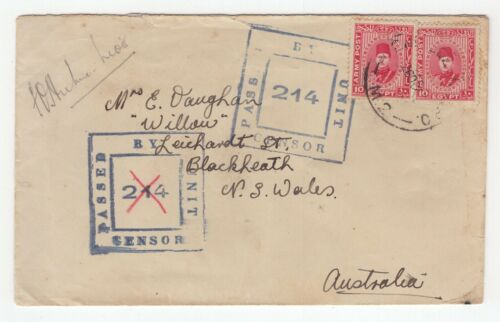Australia WW11 censored cover 1940 with EGYPT ARMY POST stamp to NSW