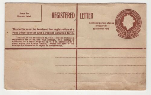 Australia pre-paid QE11 registered letter unused 1/0½d some creases as per scans