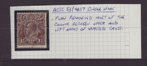 Australia s/crown w/m KGV 1½d with annotated flaw ACSC 83/4R57 position